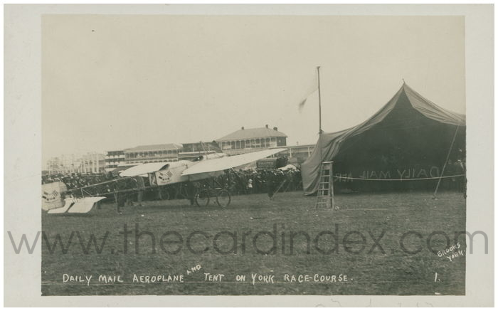 Postcard front: Daily Mail Aeroplane and Tent on York Race Course