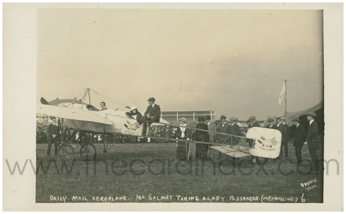 Postcard front: Daily Mail Aeroplane. Mr Salmet taking a Lady Passenger (Mrs Wasling)