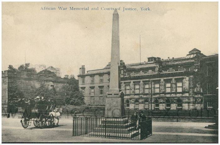 Postcard front: African War Memorial and Courts of Justice, York