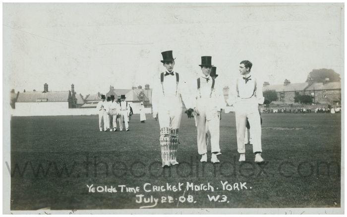 Postcard front: Ye Olde Time Cricket Match. York. July 22.08.