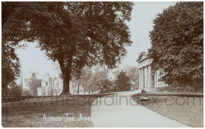 Postcard front: Across the Abbey Grounds (1) York