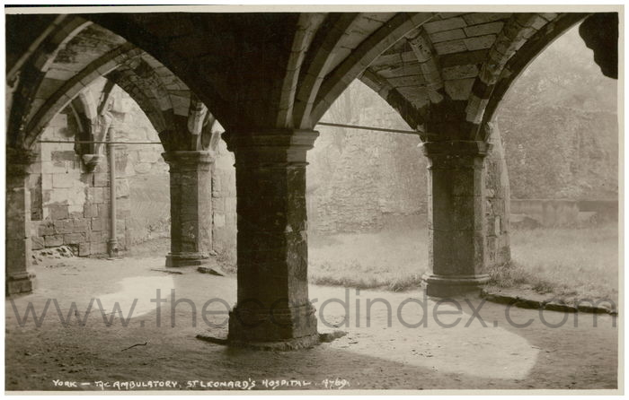 Postcard front: York - The Ambulatory. St. Leonard's Hospital