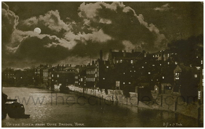 Postcard front: Up the River from Ouse Bridge, York
