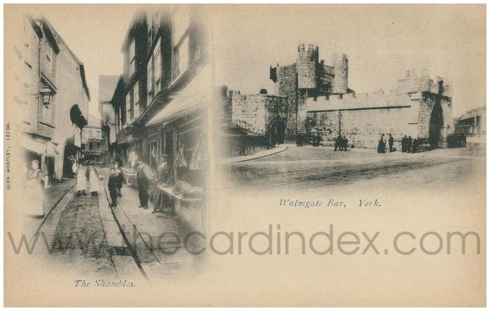 Postcard front: The Shambles. Walmgate Bar, York