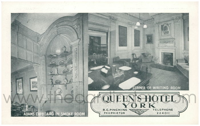 Postcard front: Queen's Hotel York R.C. Pinching Proprietor Telephone 224011