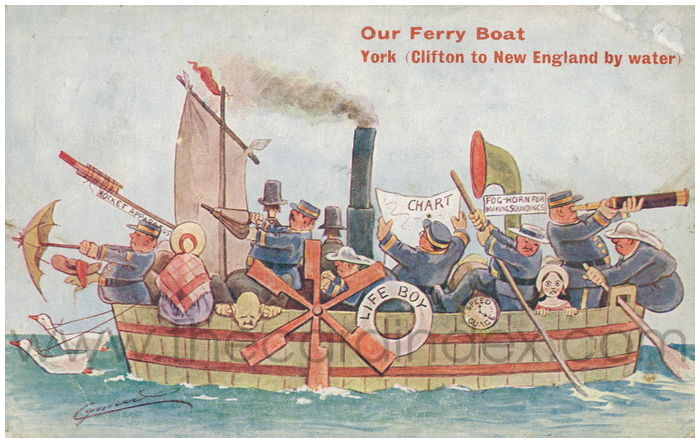 Postcard front: Our Ferry Boat York (Clifton to New England by Water)
