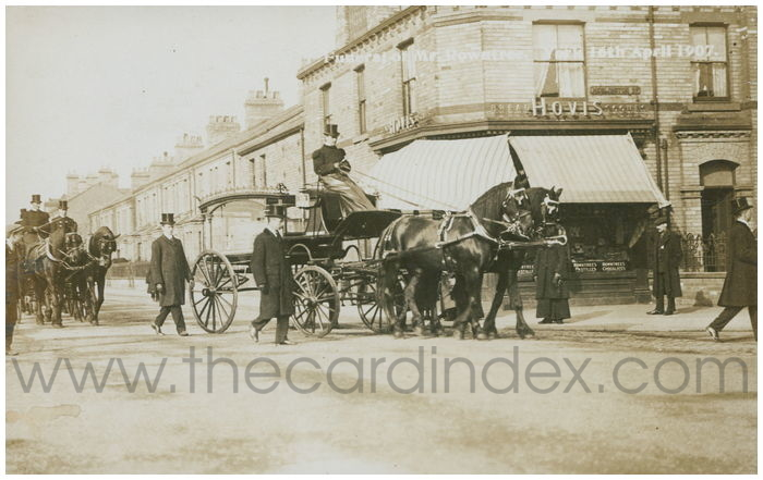 Postcard front: Funeral of Mr Rowntree. York 16th April 1907