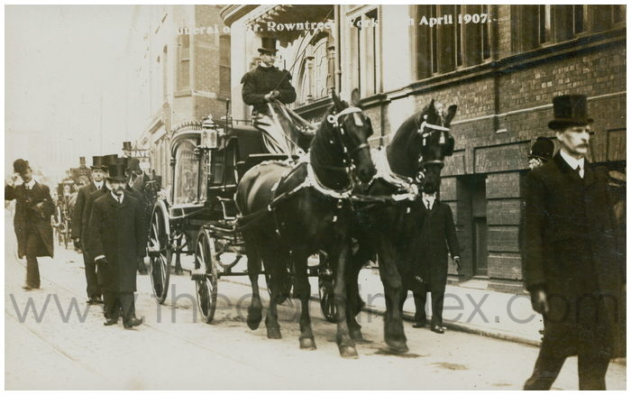 Postcard front: Funeral of Mrr Rowntree York 16th April 1907