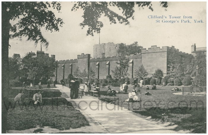 Postcard front: Clifford's Tower from St George's Park, York