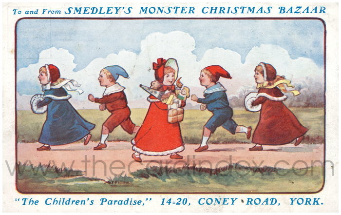 Postcard front: To and From Smedley's Monster Christmas Bazaar
