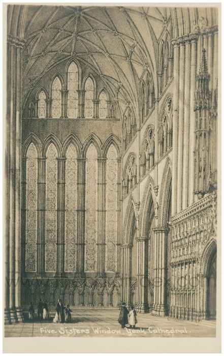 Postcard front: Five Sisters Window, York Cathedral