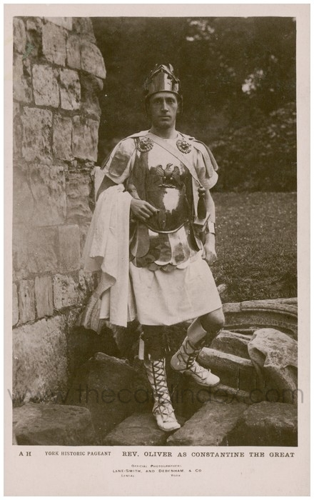 Postcard front: York Historic Pageant Rev. Oliver as Constantine the Great