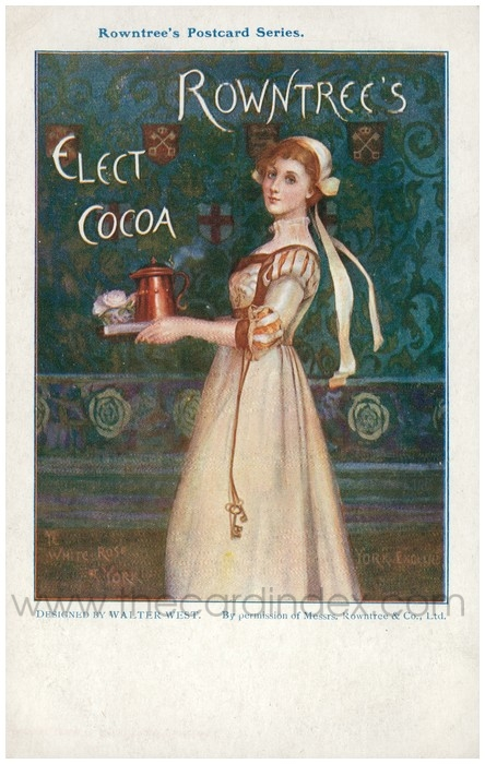 Postcard front: Rowntrees Postcard Series, Rowntrees Elect Cocoa Ye White Rose of York York England