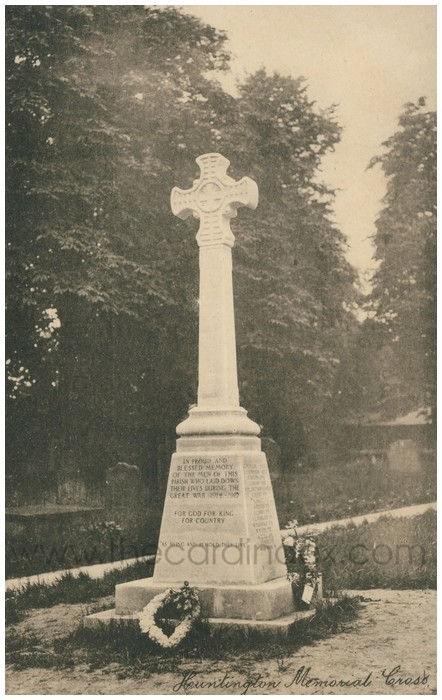 Postcard front: Huntington Memorial Cross
