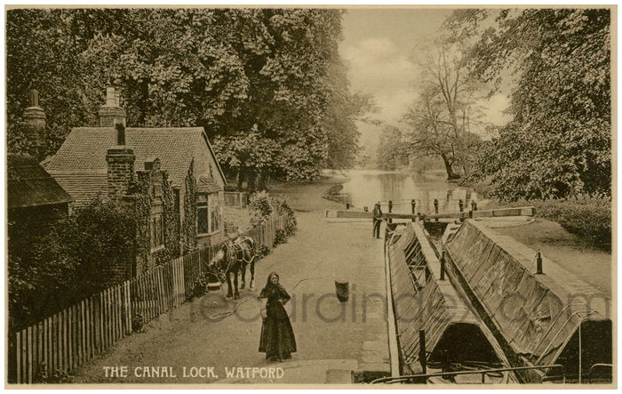 Postcard front: The Canal Lock, Watford