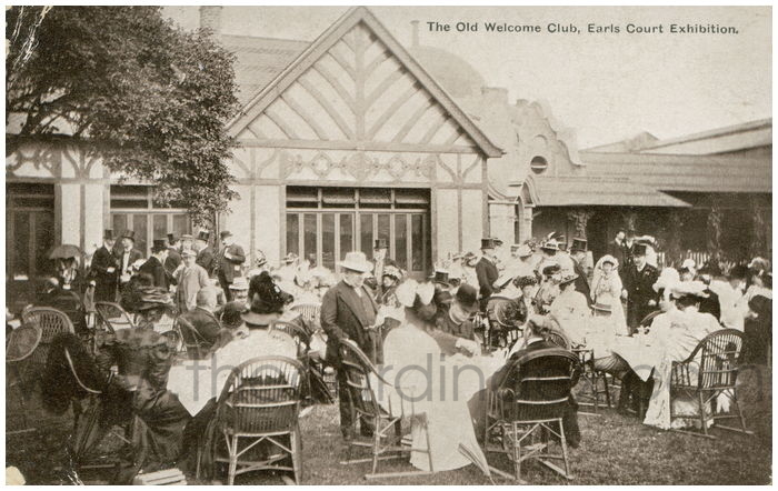Postcard front: The Old Welcome Club, Earls Court Exhibition.