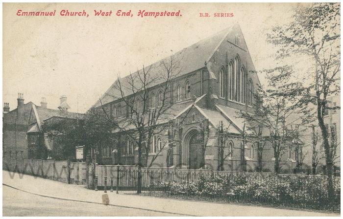 Postcard front: Emmanuel Church, West End, Hampstead