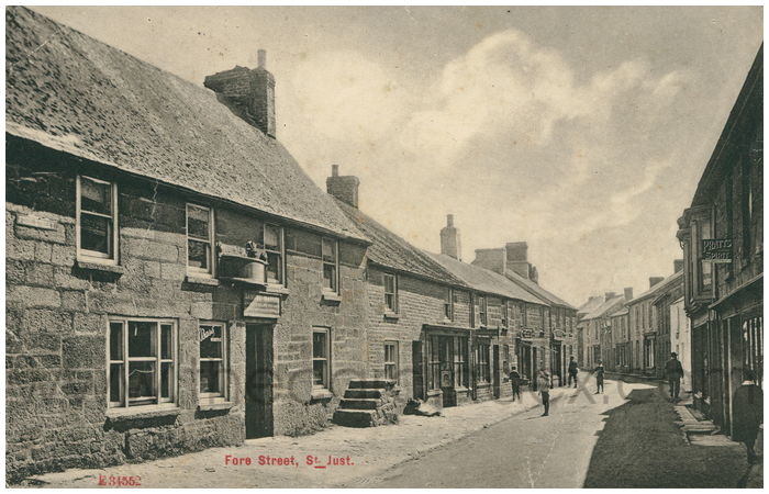 Postcard front: Fore Street, St. Just.