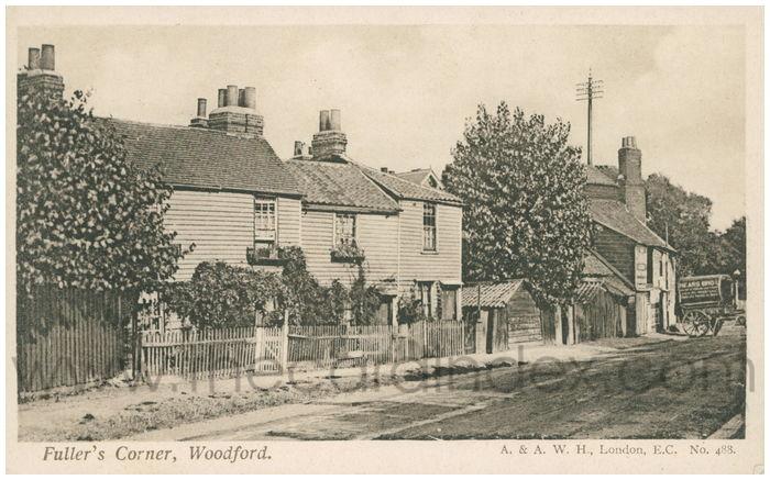 Postcard front: Fuller's Corner, Woodford.