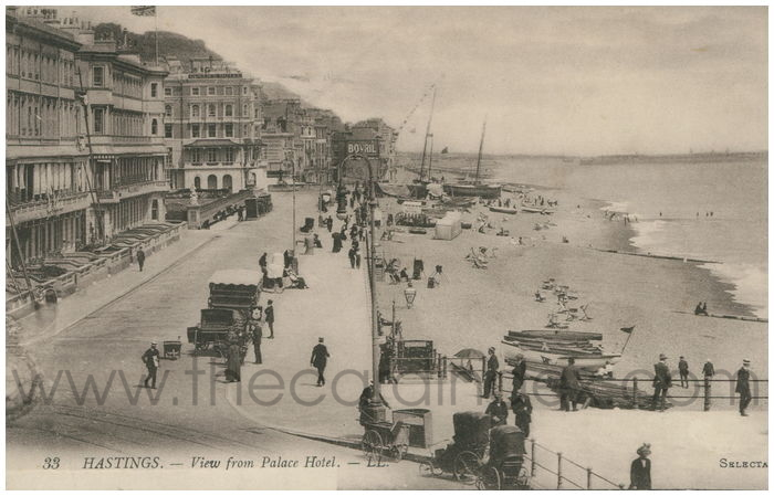 Postcard front: HASTINGS. - View from the Palace Hotel