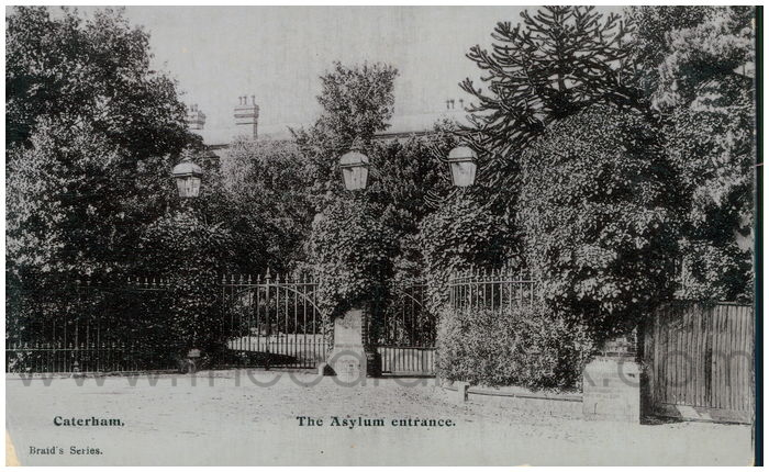 Postcard front: Caterham. The Asylum Entrance.