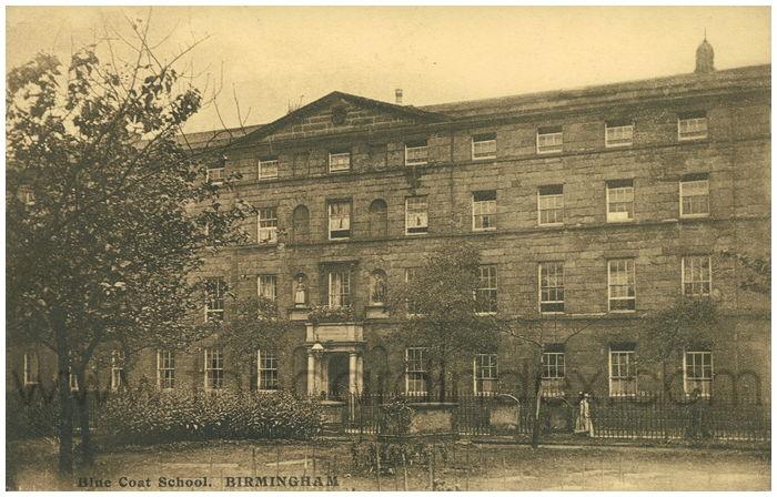 Postcard front: Blue Coat School. Birmingham.