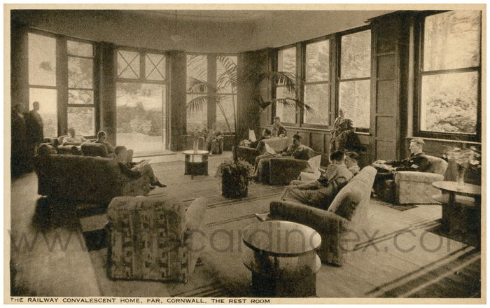 Postcard front: The Railway Convalescent Home, Par, Cornwall. The Rest Room