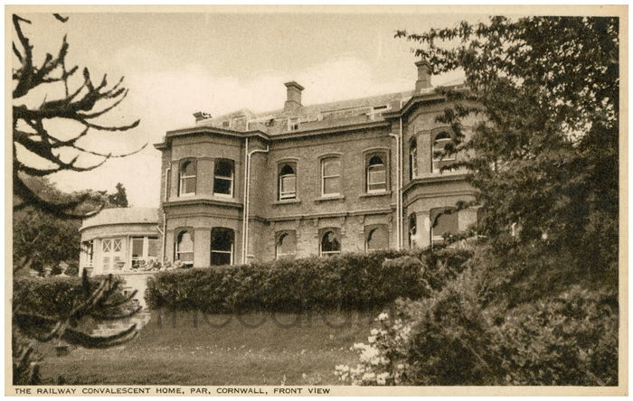 Postcard front: The Railway Convalescent Home, Par, Cornwall. Front View