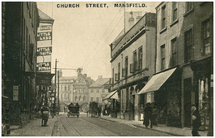 Postcard front: Church Street, Mansfield.