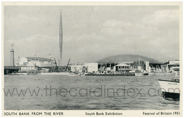 Postcard front: South Bank from the River  South Bank Exhibition  Festival of Britain 1951