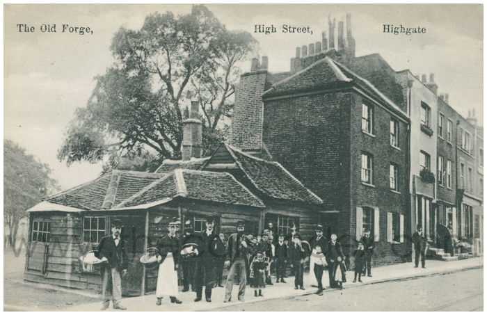 Postcard front: The Old Forge, High Street, Highgate