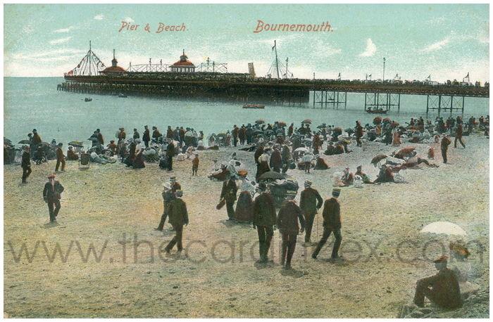 Postcard front: Pier & Beach. Bournemouth.