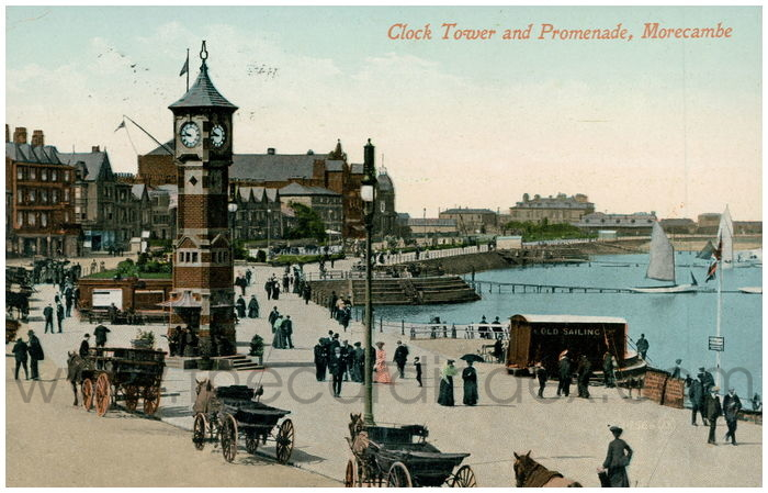 Postcard front: Clock Tower and Promenade, Morecambe.