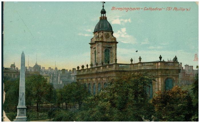 Postcard front: Birmingham - Cathedral - (St. Phillip's)