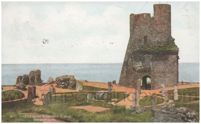 Postcard front: Castle Ruins and Druidie Circle, Aberystwyth.