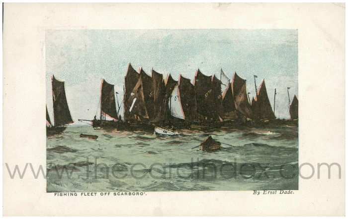 Postcard front: Fishing Fleet off Scarboro'.