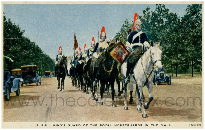 Postcard front: A Full King's Guard of the Royal Horse Guards in The Mall.