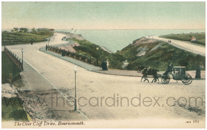 Postcard front: The Over Cliff Drive. Bournemouth.