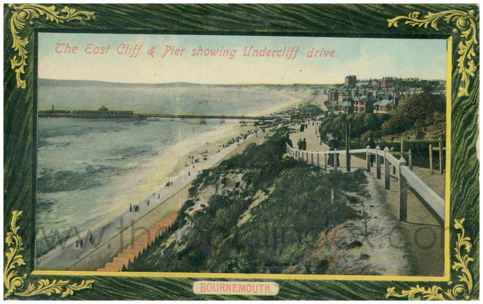 Postcard front: The East Cliff and Pier Showing Undercliff Drive. Bournemouth