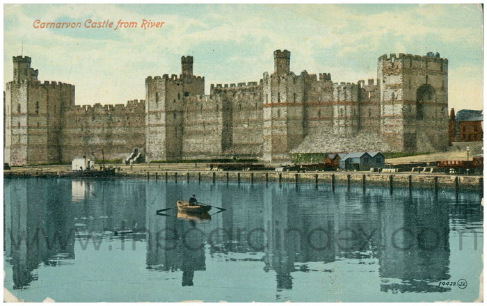 Postcard front: Carnarvon Castle from the River.