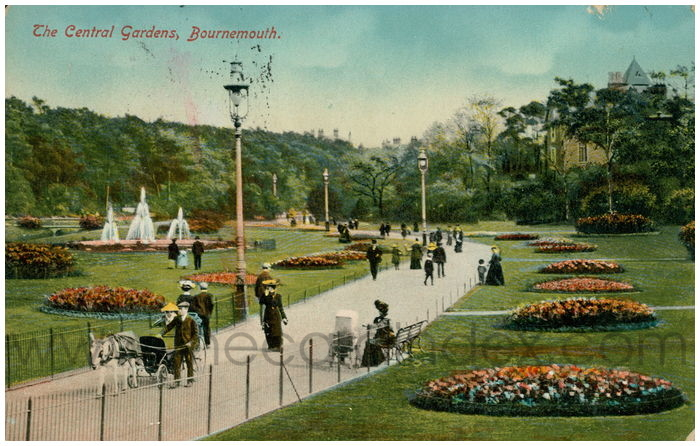 Postcard front: The Central Gardens, Bournemouth