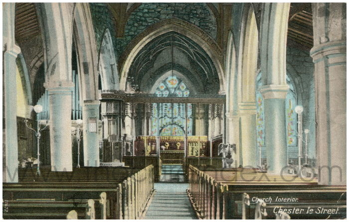 Postcard front: Church Interior. Chester Le Street.