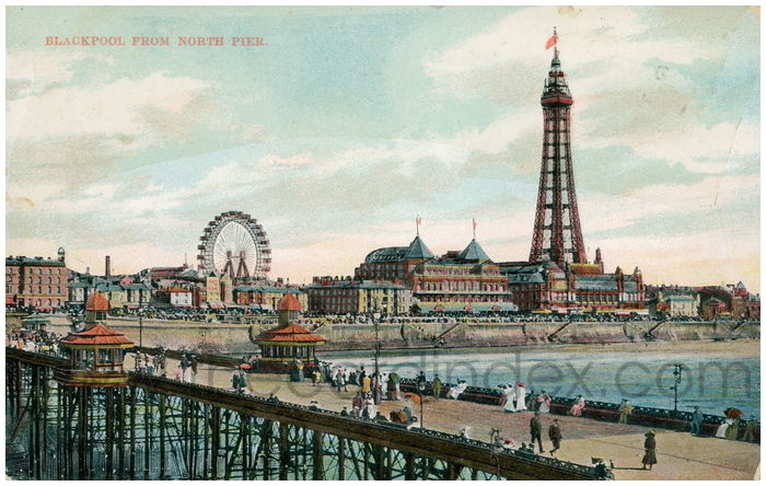 Postcard front: Blackpool from North Pier.