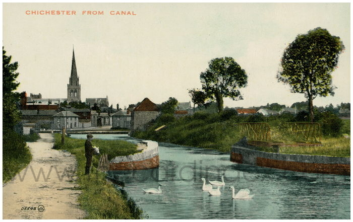 Postcard front: Chichester from Canal