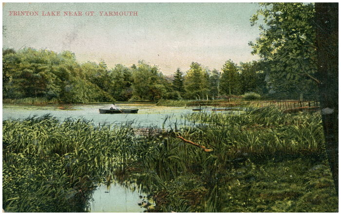 Postcard front: Frinton Lake near Gt. Yarmouth.