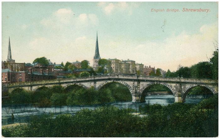 Postcard front: English Bridge, Shrewsbury.