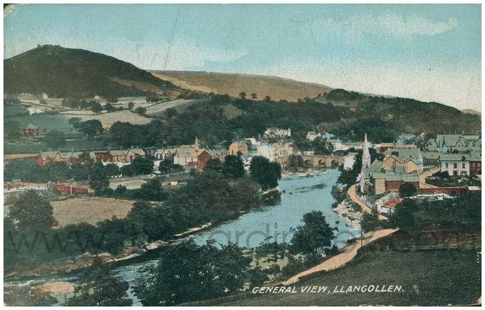 Postcard front: General View, Llangollen.