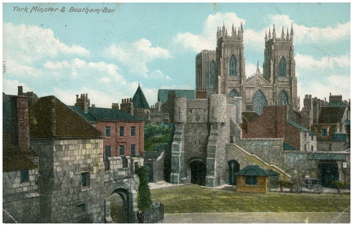 Postcard front: York Minster & Bootham Bar