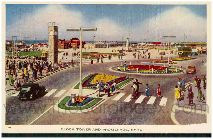 Postcard front: Clock Tower and Promenade, Rhyl.