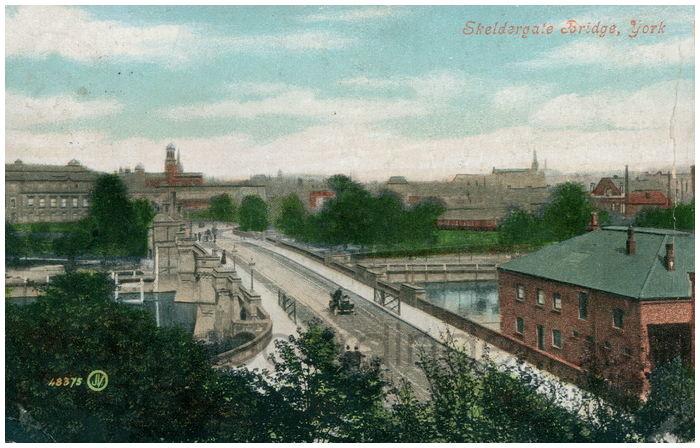 Postcard front: Skeldergate Bridge, York.